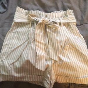 cute beige paper-bag shorts